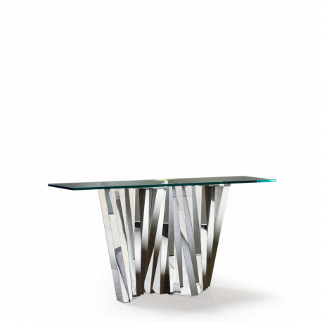 Stainless Steel and Glass Turin Console Table