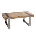 Hoxton Rustic Wood and Stainless Steel Dining Table