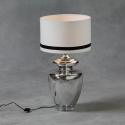 Large Silver Urn Lamp with White and Black Stripe Shade