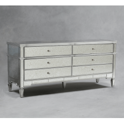Antiqued Glass Sienna Silver Large Side Cabinet