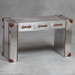 Industrial Travel Trunk Silver Large Desk/Table