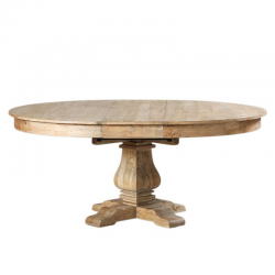 Large Reclaimed Elm Round Extending Dining Table