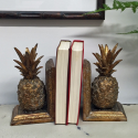 Antique Gold Pair of Pineapple Bookends