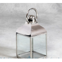 Polished Steel Small Square Glass Lantern