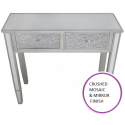 Silver Champagne Trim Mosaic and Mirror Console