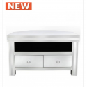 White Manhat 2 Drawer Corner Mirror Entertainment Unit