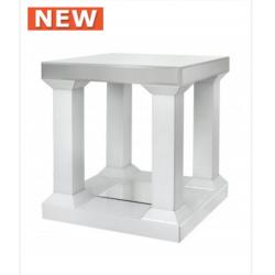 White Manhat Mirror Pillar Leg End Table