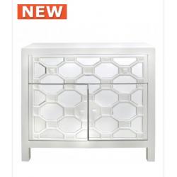 White Geo 1 Drawer 2 Door Wood Cabinet