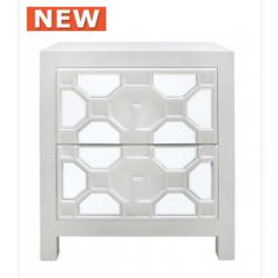 White Geo 2 Drawer Wood Cabinet