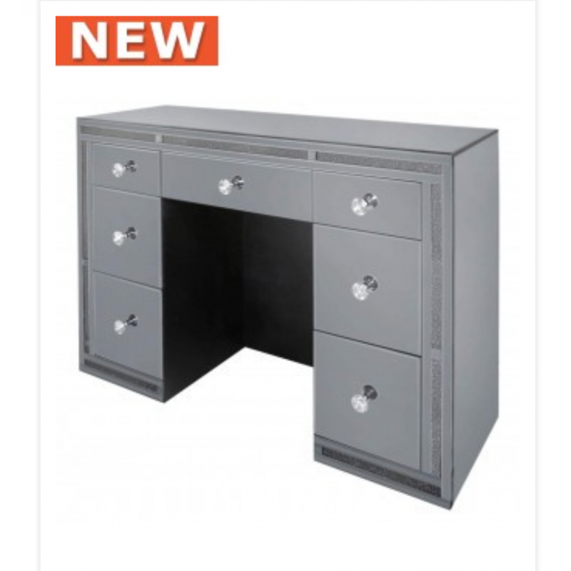 Smoked millanno mirror 7 drawer dressing table for Dressing table 85cm