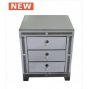 Smoked Millanno Mirror 3 Drawer Bedside Cabinet
