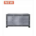 Smoked Millanno Mirror 6 Drawer Cabinet