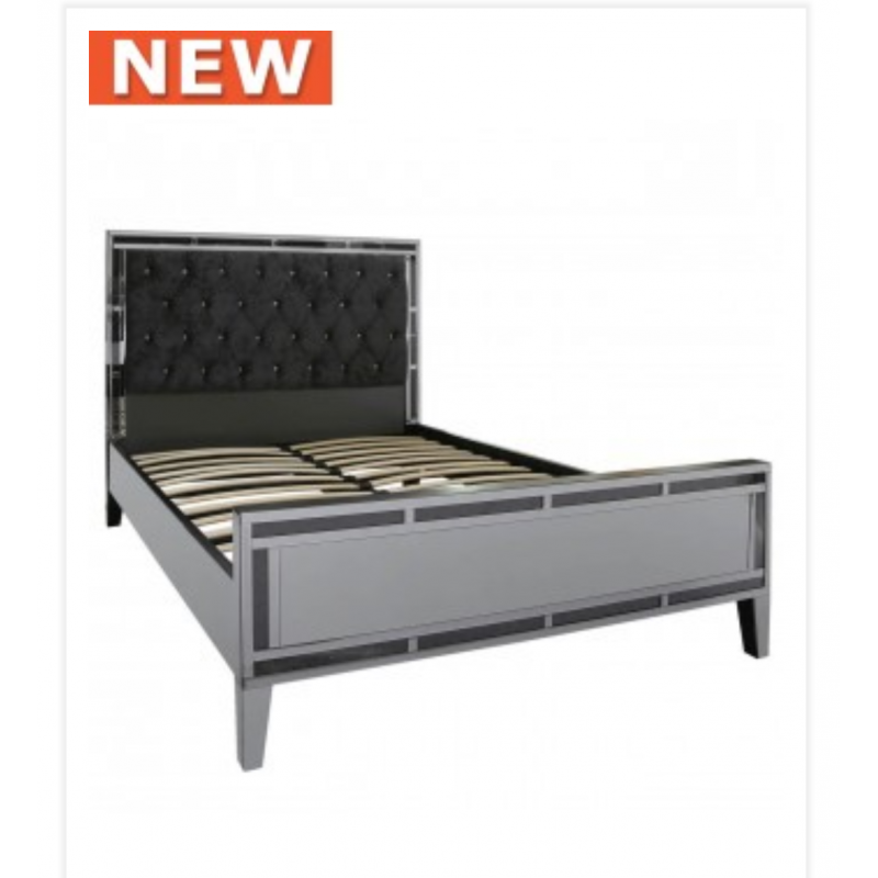 smoked millanno mirror king size bed frame - Mirror Bed Frame