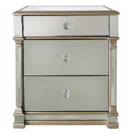 Apollo 3 Drawer Mirror Bedside With Champagne Trim