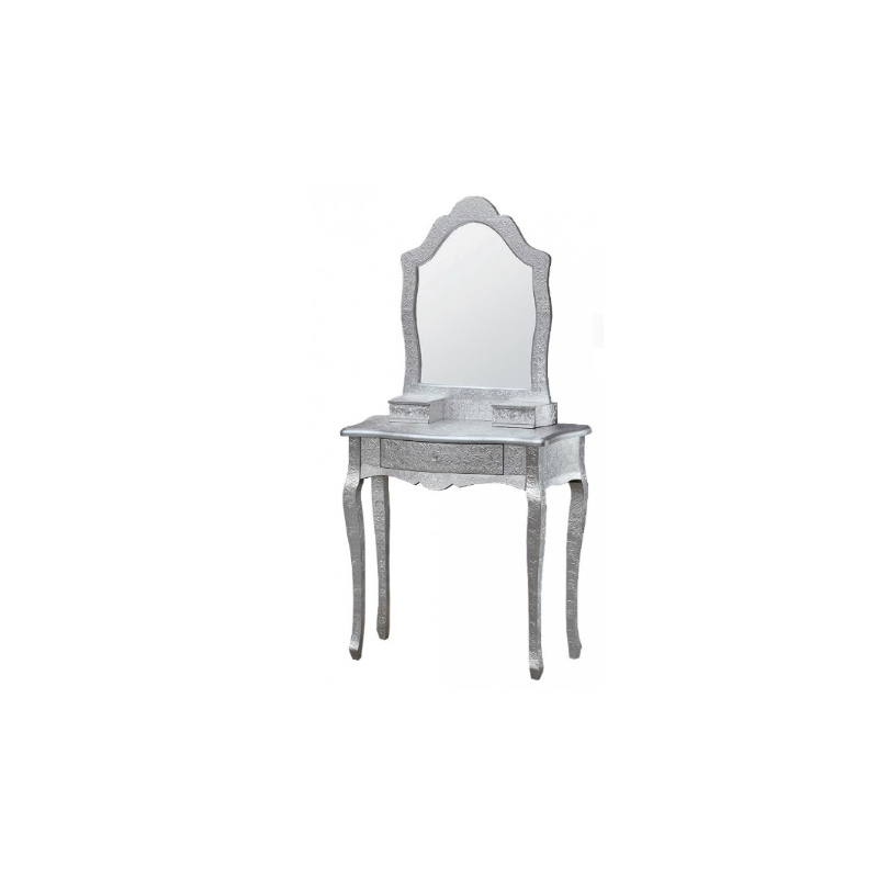 silver embossed dressing table and mirror set forever furnishings. Black Bedroom Furniture Sets. Home Design Ideas