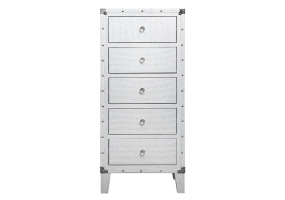 White Allora 5 Drawer Tallboy Chest