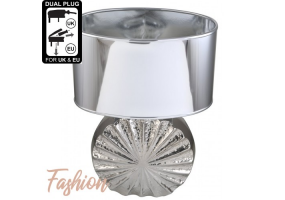 Small Chrome Ribbed Round Base With Silver Shade