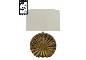 Chrome Ribbed Medium Cream Round Base Table Lamp
