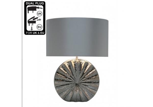 Chrome Ribbed Medium Silver Round Base Table Lamp
