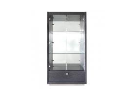 Aurelia Dark Grey Walnut 1 Drawer Display Cabinet