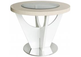 Auguri Light Walnut Round End Table