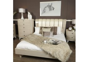 Auguri Light Walnut King Size Bed Frame