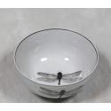 Antique White Dragonfly Ceramic Bowl