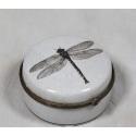 Antique White Dragonfly Ceramic Round Box
