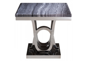 Juniper Grey Marble And Chrome End Table