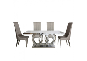 Athena Taupe Natural Marble Dining Set