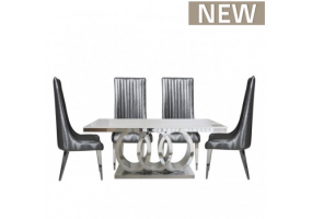 Athena Grey Natural Marble Dining Set