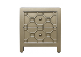 Gold Geo 2 Drawer Side Table Cabinet