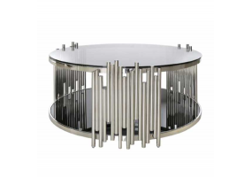 Lorenzo Metal & Glass Round Coffee Table Polished Steel