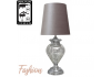 Large Chrome Glass Regency Statement Lamp With Grey Shade