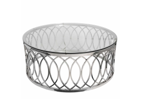 Wallow Chrome Round Metal Coffee Table With Tempered Glass Top