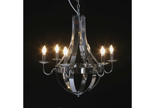 Chrome 6 Branch Cage Chandelier