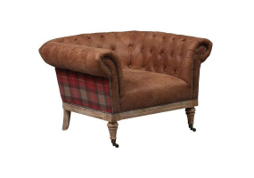 St Andrews Brown Leather And Tartan Arm Chair
