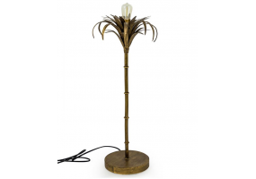 Antiqued Gold Iron Palm Tree Table Lamp