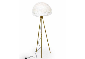Brass Tripod Floor Lamp with White Goose Feather Shade