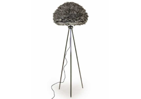 Chrome Tripod Floor Lamp with Grey Goose Feather Shade