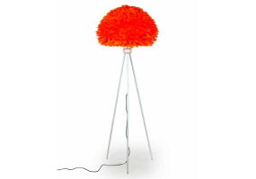 Matt White Tripod Floor Lamp with Orange Goose Feather Shade