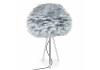 Chrome Tripod Table Lamp with Grey Goose Feather Shade