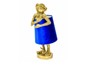 Antique Gold Bashful Monkey Table Lamp with Blue Velvet Shade