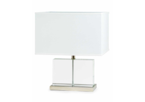 Crystal Block and Chrome Table with White Square Shade