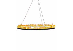 Black Ring LED Chandelier with Rock Crystals
