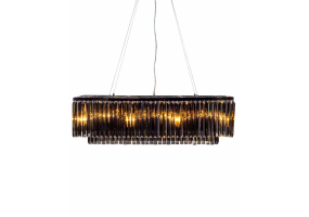 Chrome Prism Drop with Smoked Crystals Rectangular Cascade Chandelier
