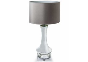 Tall Silvered Glass Lamp with Round Taupe Shade