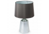 Silvered Glass Lamp with Round Taupe Shade