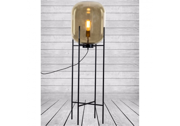 Large Gold Glass Edison Lamp on Black Floor Stand