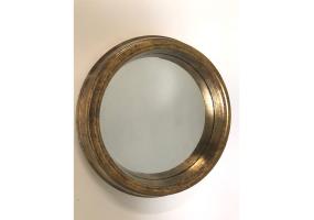 Large Gold Round Metal Wall Mirror
